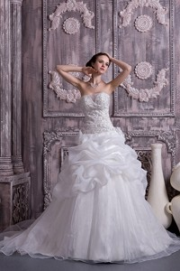 Custom Made Princess Stapless Chapel Train Organza Beading And Pick-ups Wedding Dress