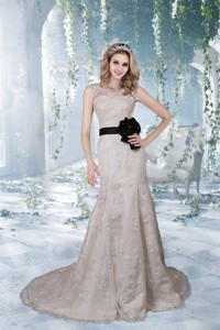 Beautiful Column Court Train Lace Wedding Dress With V Neck