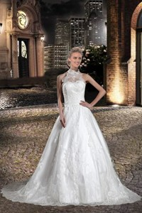 A Line Halter Lace Beading Wedding Dress with Chapel Train