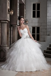 Beautiful Ball Gown Sweetheart Court Train Tulle and Taffeta Beading Wedding Dress