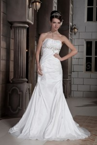 Discount Column Strapless Court Train Taffeta Ruch and Beading Wedding Dress