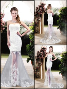 Latest Column Sweetheart Lace Wedding Dress With Brush Train