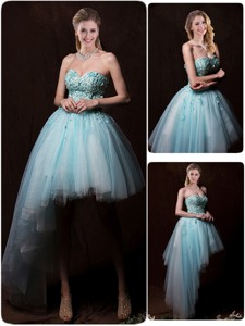 Low Price Appliques Light Blue Wedding Dress With Asymmetrical