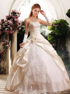 Fashionable Ball Gown Strapless Wedding Dress With Appliques