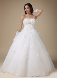 Simple Strapless Floor-length Taffeta And Organza Appliques Wedding Dress