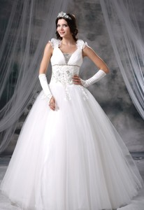 Jefferson Iowa Appliques With Beading Hand Made Flowers Tulle Floor-length Wedding Dress