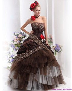 Perfect Leopard Multi Color Prom Dress With Hand Made Flowers