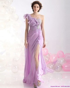 Beautiful Empire One Shoulder Prom Dress With Beading And High Slit