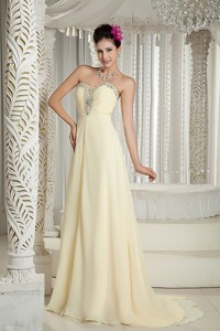 Light Yellow Prom Dress Empire Sweetheart Chiffon Beading Brush Train