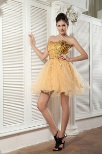 Classical Champagne Pricess Cocktail Dress Sweetheart Organza Sequins Mini-length