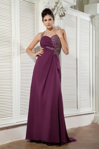 Dark Purple Empire Evening Dress One Shoulder Chiffon Beading Brush Train