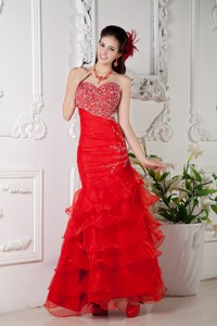 Red Mermaid Sweetheart Floor-length Organza Beading Prom / Evening Dress