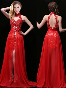 Classical Halter Top Detachable Prom Dress with Lace and Sashes