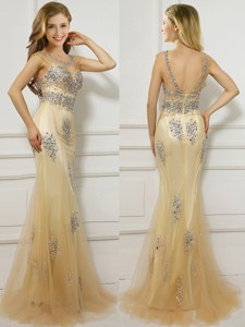 Popular Scoop Cap Sleeves Champagne Prom Dress with Beading