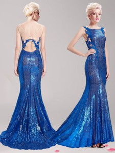 Gorgeous Square Sequined and Applique Prom Dress in Royal Blue
