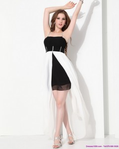 High Low Beading Dama Dress In Black And White