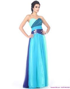 Multi Color Sweetheart Prom Dress With Ruffles And Beading
