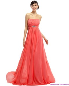Watermelon Beading Long Prom Dress With Ruching And Sweep Train