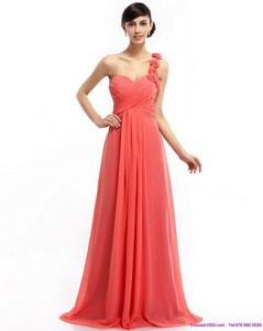 Watermelon Red One Shoulder Prom Dress With Brush Train