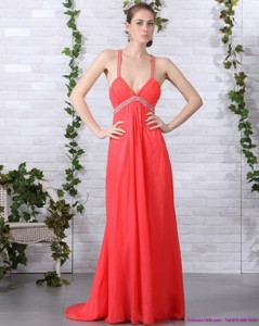 Spaghetti Straps Prom Dress With Ruching And Beading