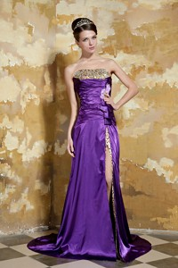 Purple Column Strapless Brush Train Elastic Woven Satin and Leopard Beading Prom Dress