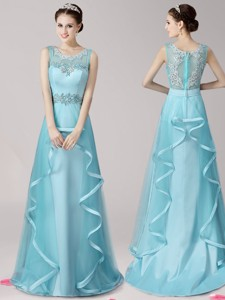 Modest Scoop Applique and Ruffled Prom Dress with Brush Train