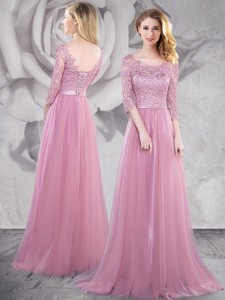Latest Half Sleeves Laced Pink Prom Dress with Brush Train