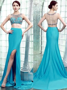 Two Piece Scoop Beaded High Slit Prom Dress with Brush Train