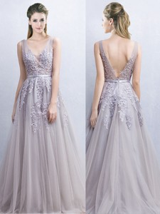Gorgeous V Neck Grey Backless Prom Dress with Appliques and Belt