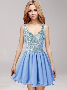 Discount Straps Beaded and Ruffled Prom Dress in Mini Length