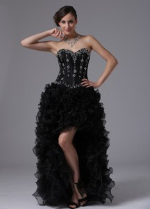 Sacramento California City Black High-low Beaded Bodice and Ruffles For Sweet Prom Dress Sweetheart