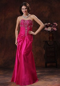 Anniston Alabama Lace-up Hot Pink Prom Dress With Beaded Decorate On Taffeta