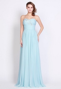 Popular Light Blue Brush Train Prom Dress With Side Zipper