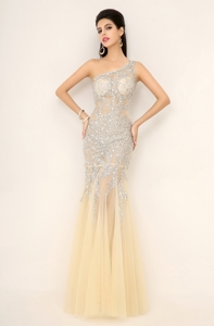 Elegant Champagne One Shoulder Prom Dress With Side Zipper