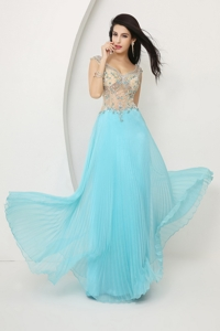 Perfect Beaded Straps Zipper Up Prom Dress With Cap Sleeves