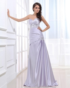 Beautiful Column Elastic Woven Satin Prom Dress With Beading