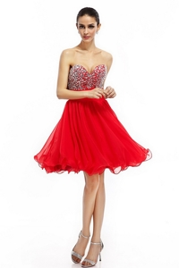 Romantic A Line Sweetheart Beaded Prom Dress In Red
