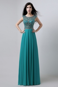 Discount Bateau Floor Length Prom Dress With Beading