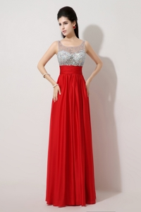 Fashionable Side Zipper Red Prom Dress With Scoop