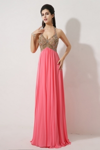 Gorgeous Halter Top Brush Train Prom Dress In Watermelon Red