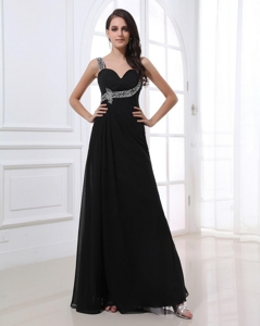 Fashionable Empire Straps Beading Prom Dress In Black