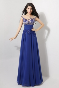 Discount Cap Sleeves Prom Dress With Appliques And Beading