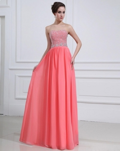 Popular Watermelon Sweetheart Prom Dress With Beading
