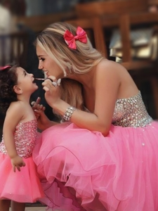 Most Popular Knee Length Prom Dress with Beading and New Style Beaded Little Girl Dress with Straple