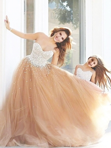 New Arrivals Beaded Prom Dress with Brush Train and Cheap Sweetheart Little Girl Dress with Beading