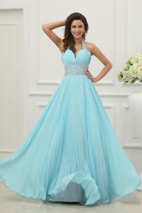 Light Blue Halter Top Neck Beading and Pleats Long Prom Dress