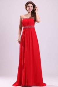 Sexy Sweetheart Empire Beading Chiffon Red Prom Dress With Backless