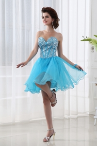 Lovely Sweetheart Beading Baby Blue Prom Dress In Blue