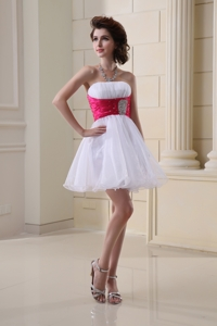 Strapless Beading And Ruching Organza White Prom Dress
