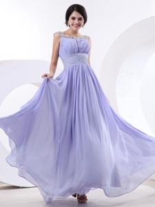 Bbeaded Decorate Bateau and Waist For Lilac Prom Dress With Floor-length